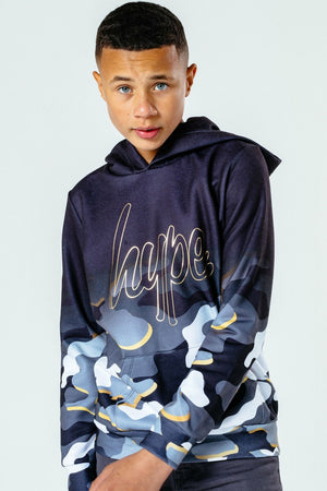 Gold Line Camo Kids Pullover Hoodie -  Grey/Gold