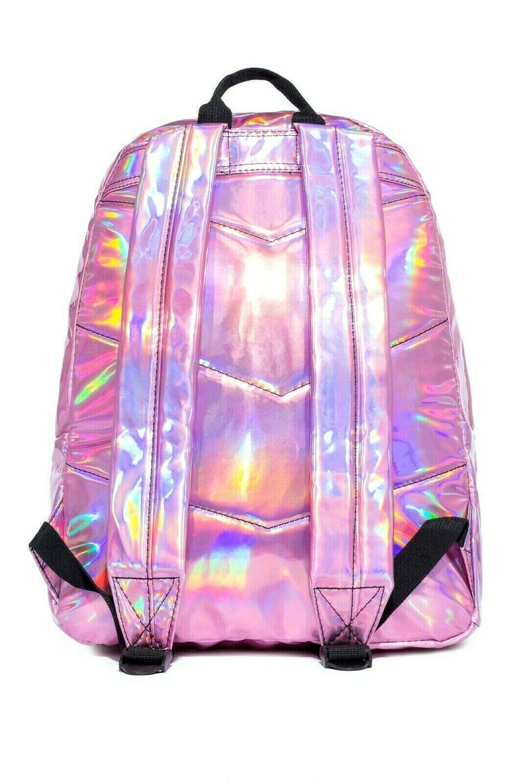 HYPE HOLOGRAPHIC MIX BACKPACK RUCKSACK BAG - PINK/SILVER