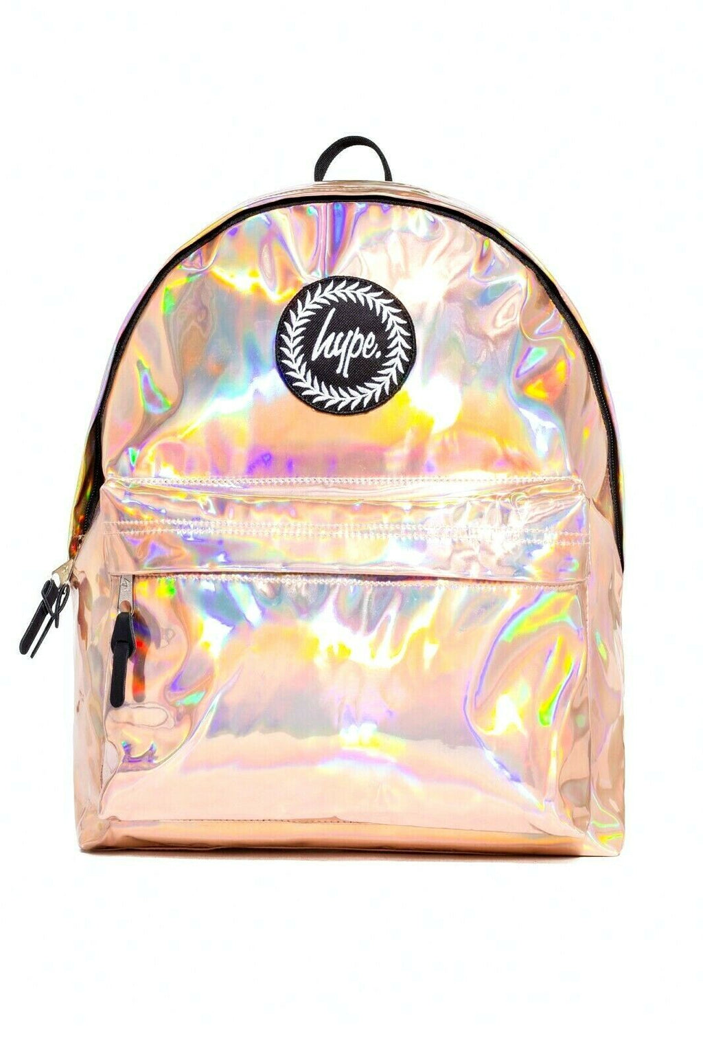 HYPE HOLOGRAPHIC BACKPACK RUCKSACK BAG - ROSE GOLD