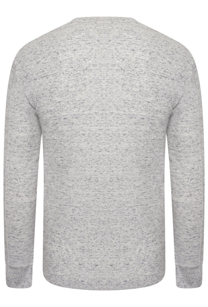 Micro Texture Henley Top - Grey Space Dye