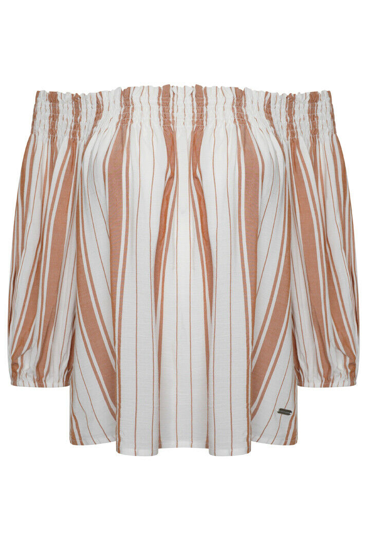 Desert Off Shoulder Top - Orange Stripe