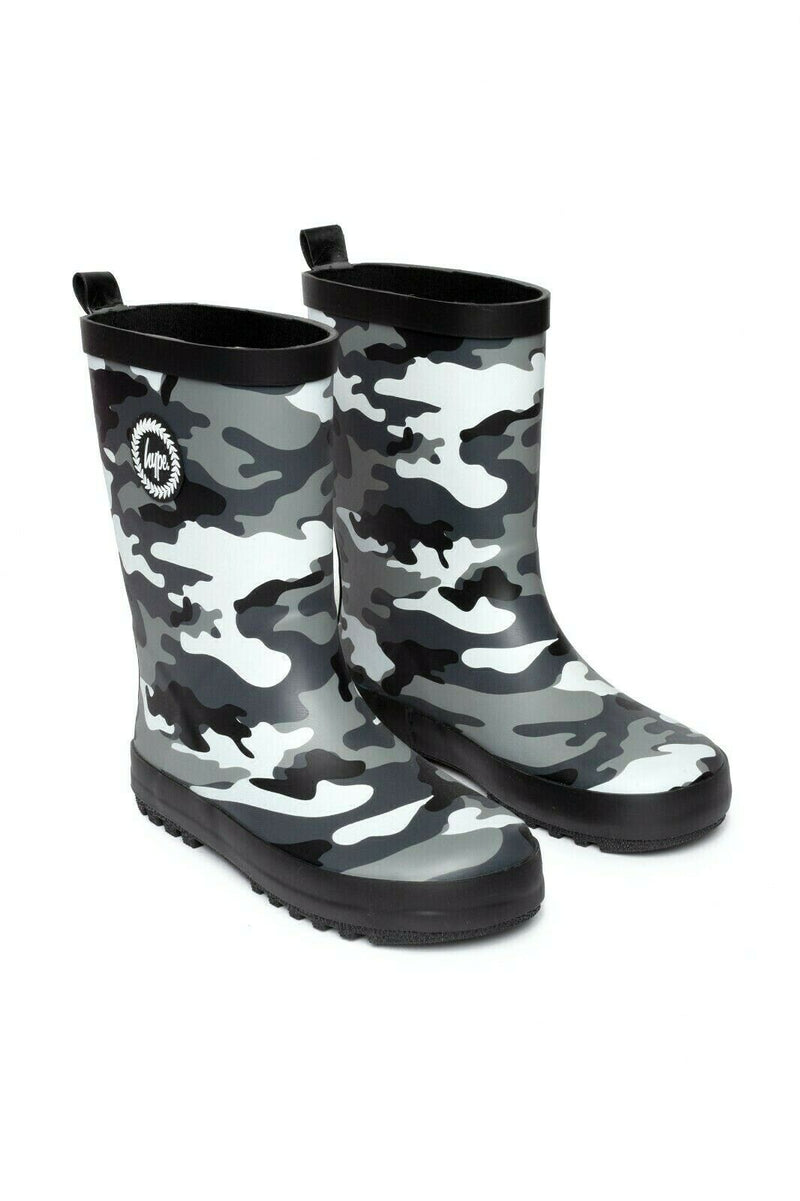 Kids Camo Printed Wellies - Black