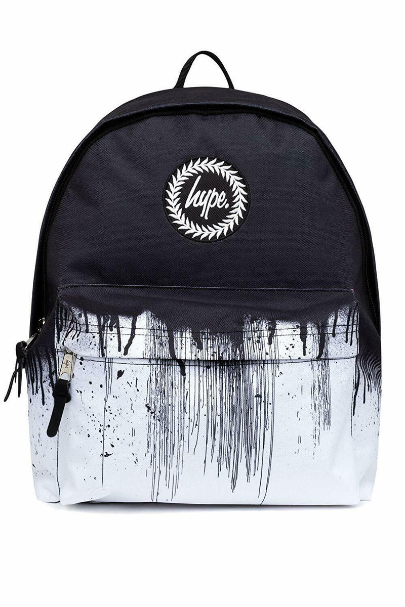HYPE MONO DRIPS BACKPACK RUCKSACK BAG - BLACK/WHITE