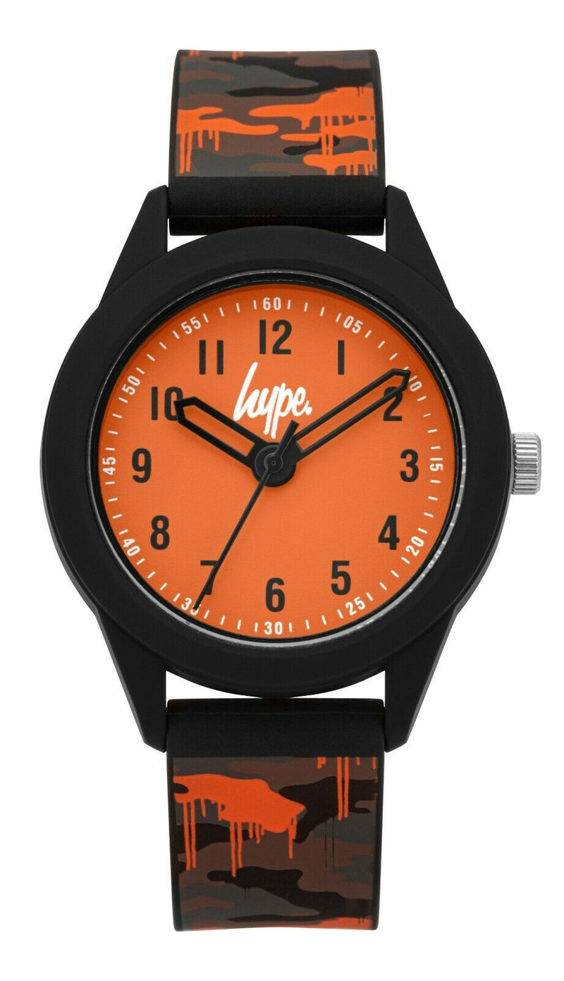 Kids Grey/Orange Camo Print Soft Touch Watch