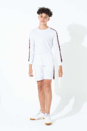JH Race White Kids Shorts