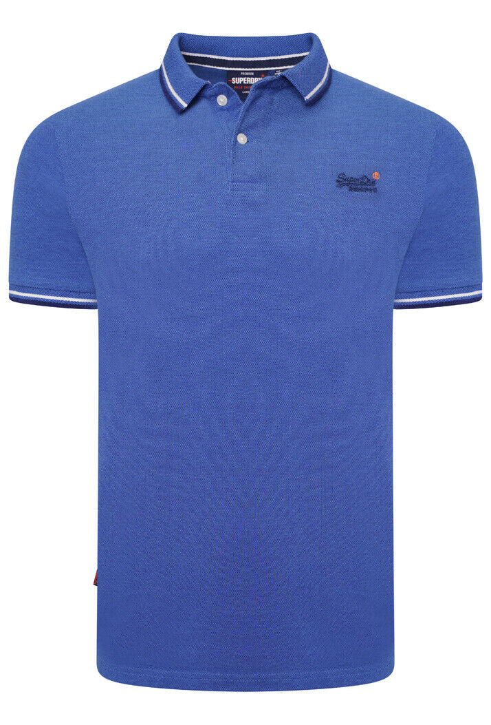 Classic Poolside Pique Polo Shirt - True Blue Twist