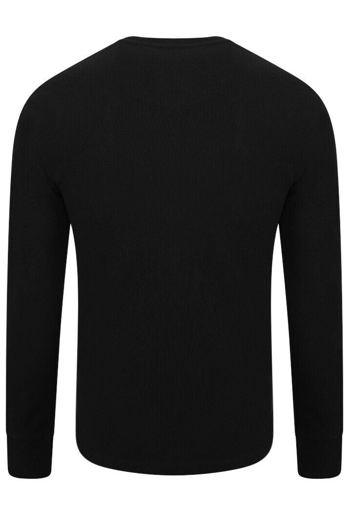 Micro Texture Henley Top - Black