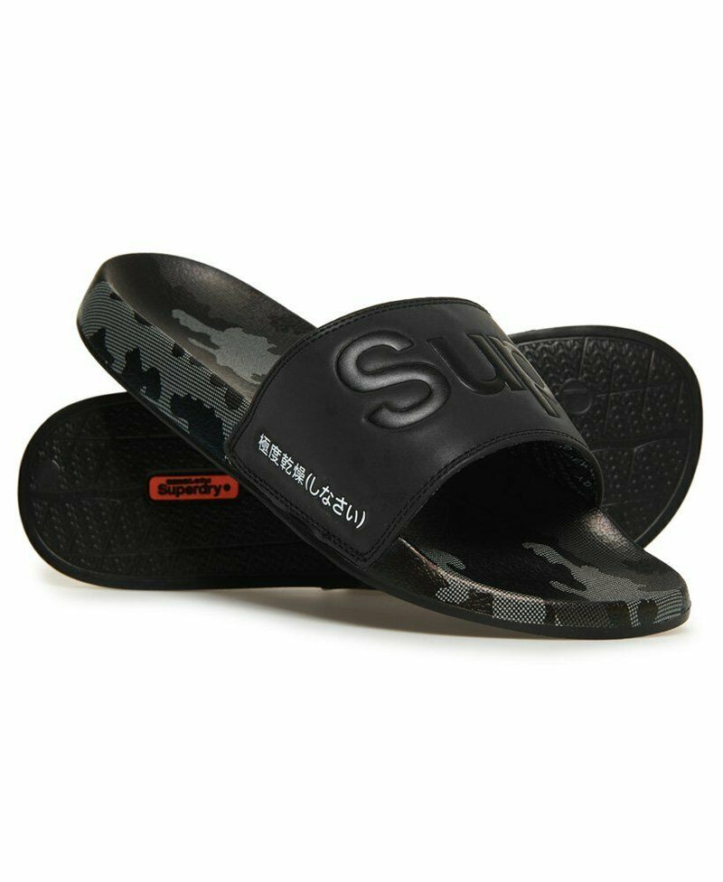 All Over Print Beach Sliders - Black 3M/Black/Mono Camo Dot