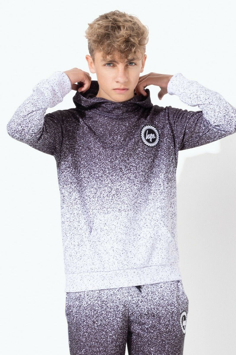 Speckle Fade Black/White Kids Pullover Hoodie