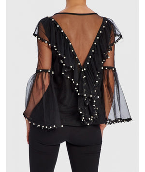 FOREVER UNIQUE SANDIE BLACK TOP WITH PEARL DETAIL