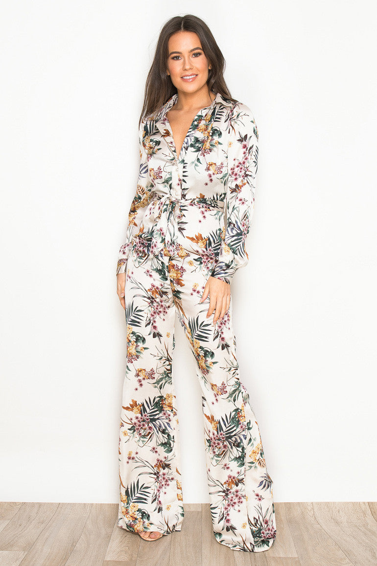 CARA FIT & FLARE JUMPSUIT - TROPICAL PRINT