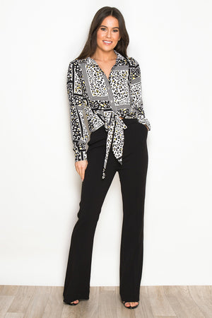 AEYSHA TIE FRONT BUTTON DOWN SHIRT - LIME LEOPARD PRINT