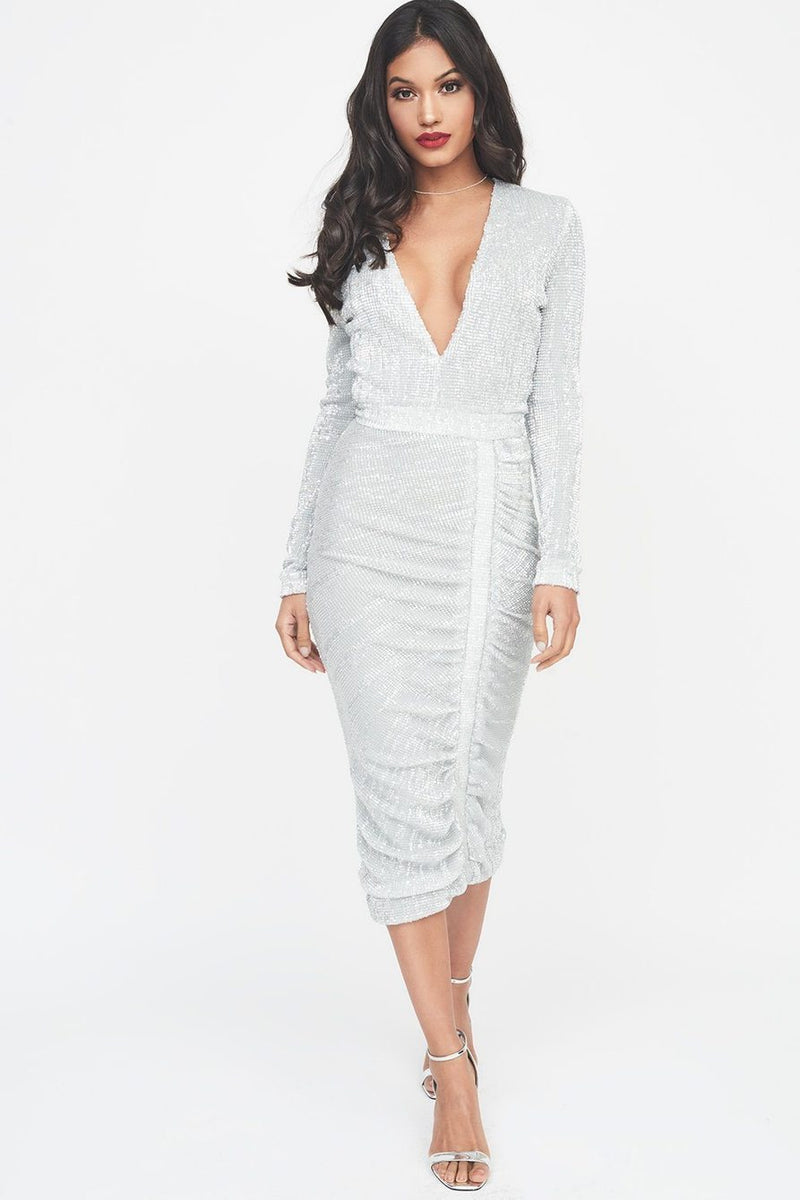 LAVISH ALICE SIGNATURE SILVER IRIDESCENT SEQUIN MIDI DRESS