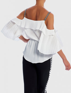 FOREVER UNIQUE SIRIUS COLD-SHOULDER PEARL EMBELLISHED RUFFLE TOP - IVORY