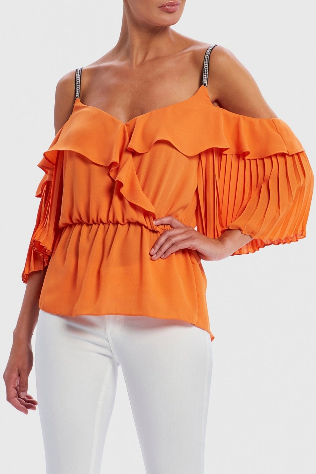 FOREVER UNIQUE SIRIUS COLD-SHOULDER PEARL EMBELLISHED RUFFLE TOP - ORANGE