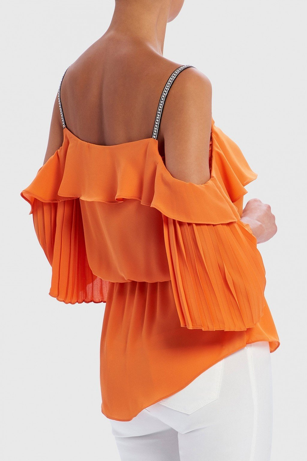 Forever Unique Women/'s Sirius Cold-Shoulder Pearl Embellished Ruffle Top