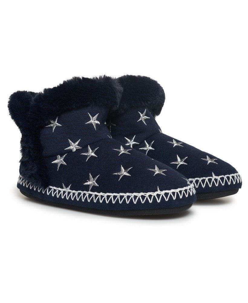 SUPERDRY SLIPPER BOOTS - NAVY MARL/SILVER