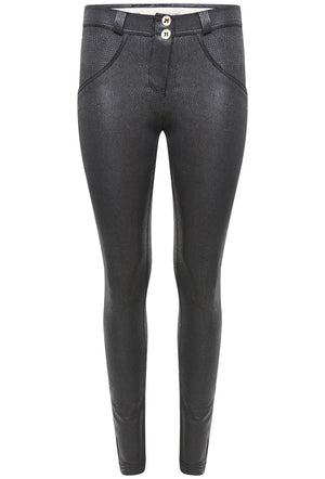 FREDDY WRUP1RX03E SHAPING EFFECT MID RISE FAUX LEATHER SNAKE SKINNY PANT - BLACK