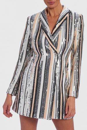 FOREVER UNIQUE ANTARES SEQUIN STRIPED EMBELLISHED BLAZER DRESS - NUDE/SILVER