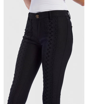 FOREVER UNIQUE STELLA LACE EMBROIDERED DENIM SKINNY JEANS - BLACK