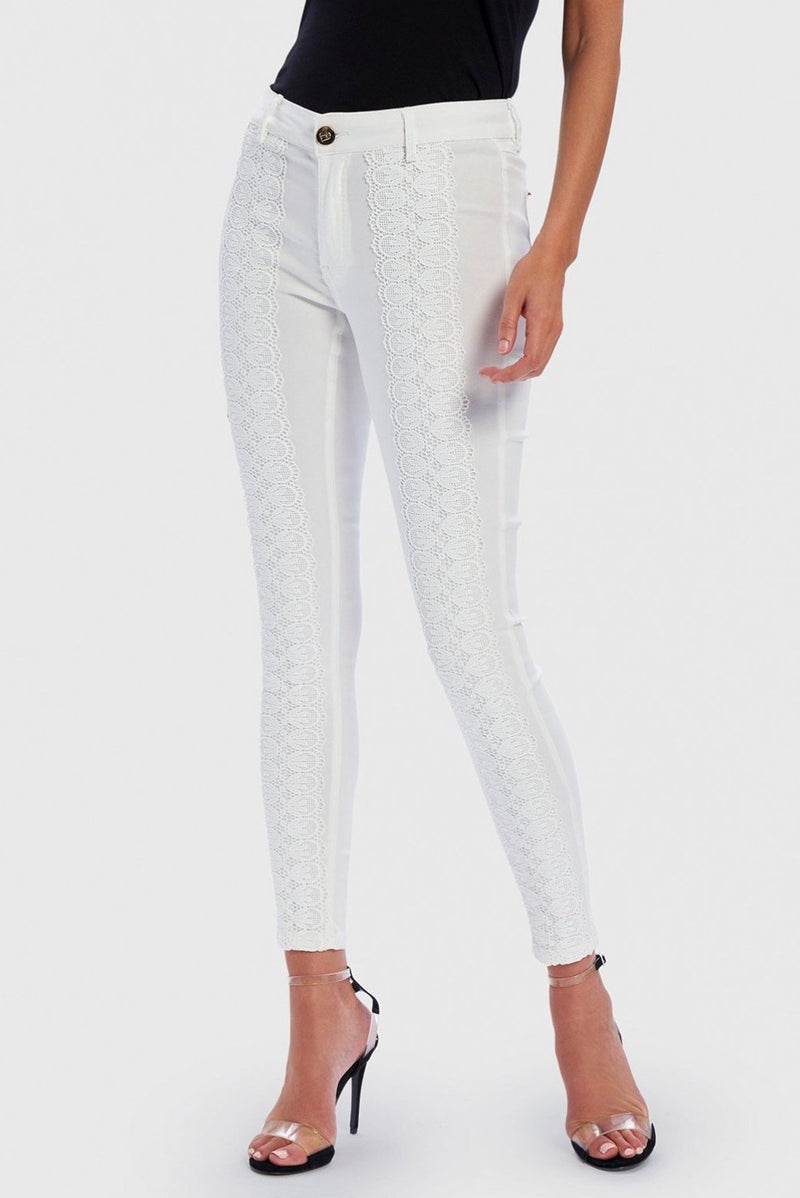 FOREVER UNIQUE STELLA LACE EMBROIDERED DENIM SKINNY JEANS - IVORY