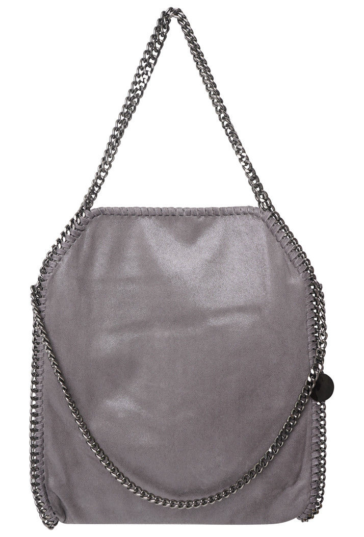 Stella Inspired Metallic Faux Suede Large Chain Bag - Grey