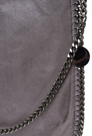 STELLA INSPIRED STYLE METALLIC FAUX SUEDE LARGE CHAIN BAG - GREY