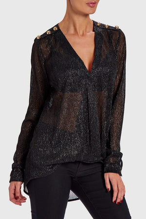 FOREVER UNIQUE STRIKE DRAPED BLOUSE - BLACK