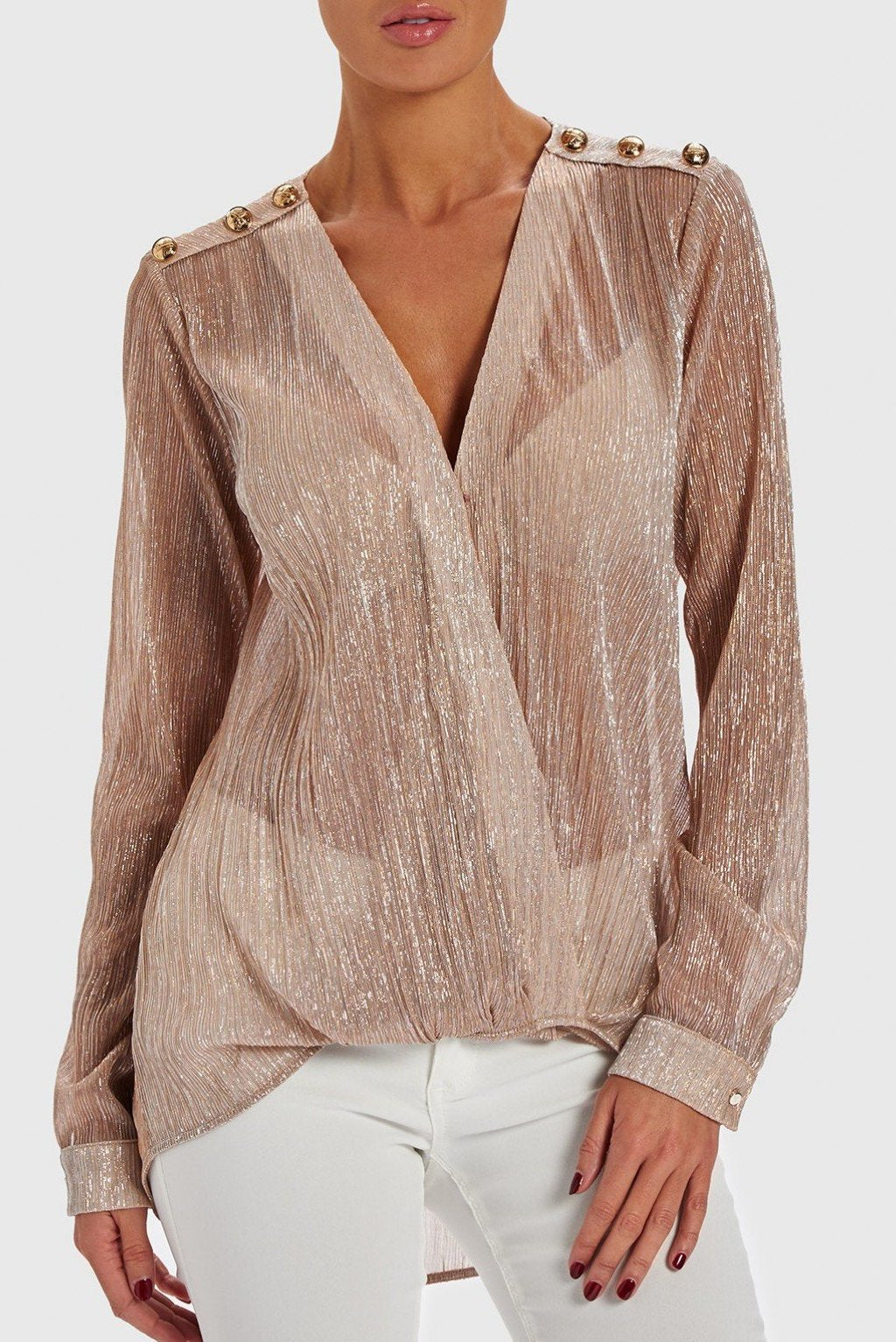 FOREVER UNIQUE STRIKE PINK DRAPED BLOUSE - PINK