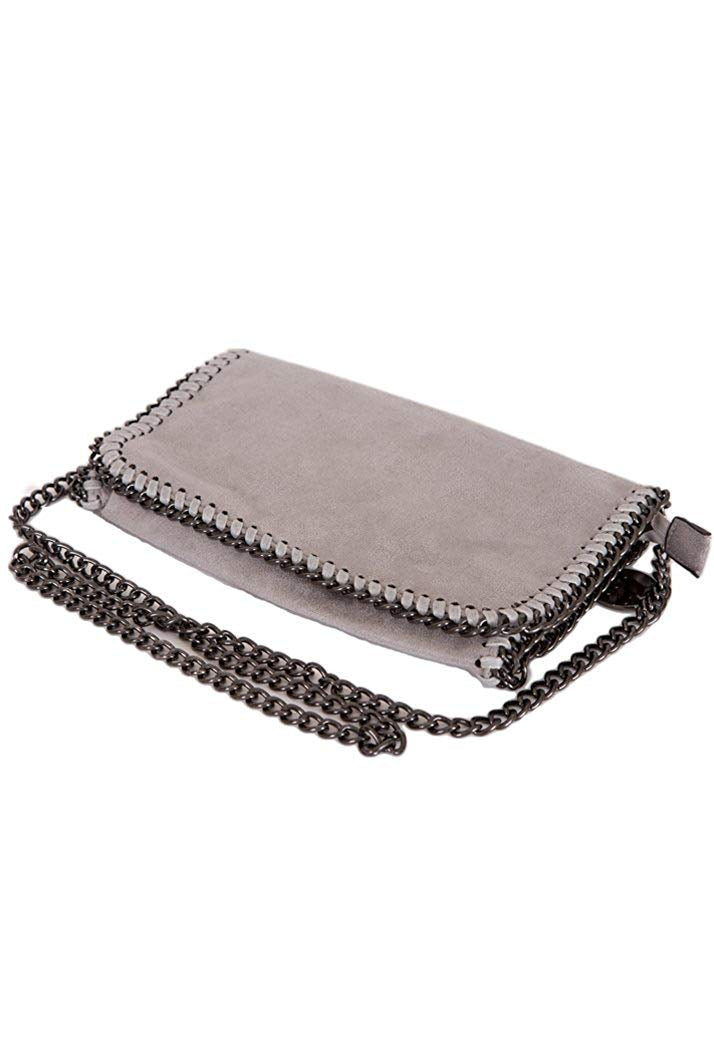 STELLA INSPIRED METALLIC FAUX SUEDE CROSS BODY MINI CLUTCH BAG - GREY