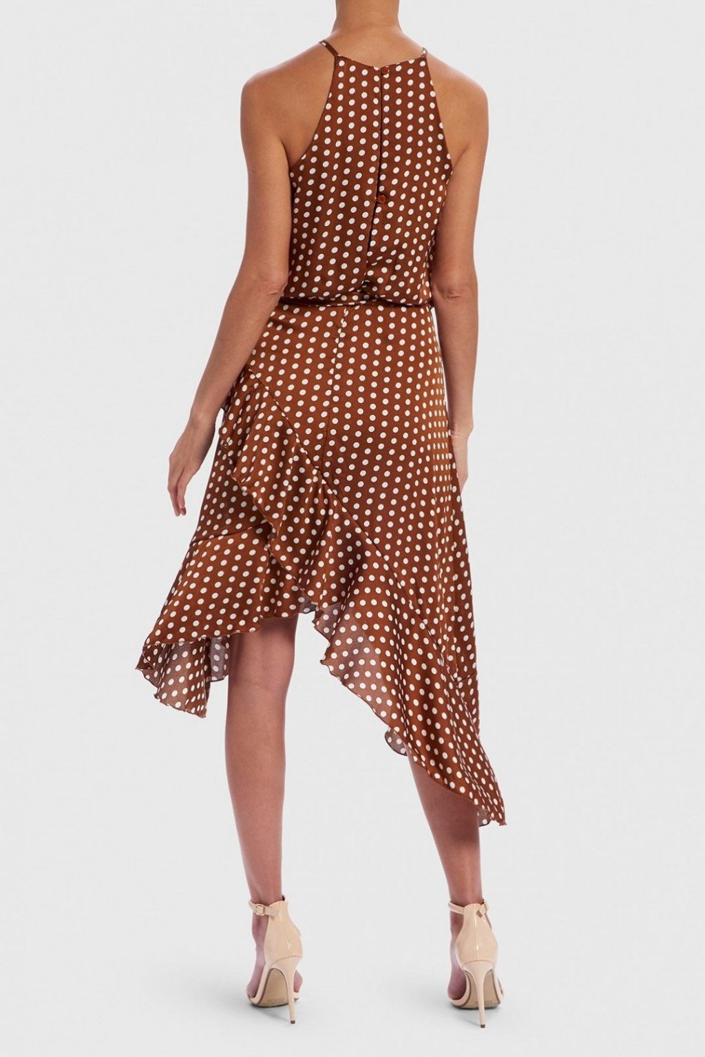 FOREVER UNIQUE U TAN & WHITE POLKA DOT WINNING HALTER NECK DRESS