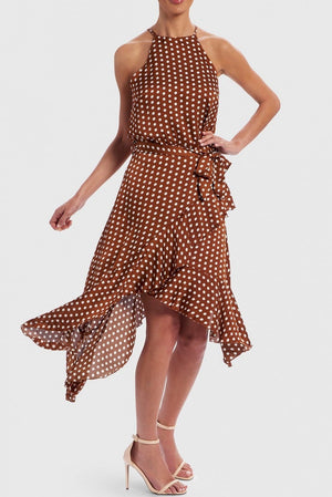 FOREVER UNIQUE U TAN & WHITE POLKA DOT HALTER NECK DRESS