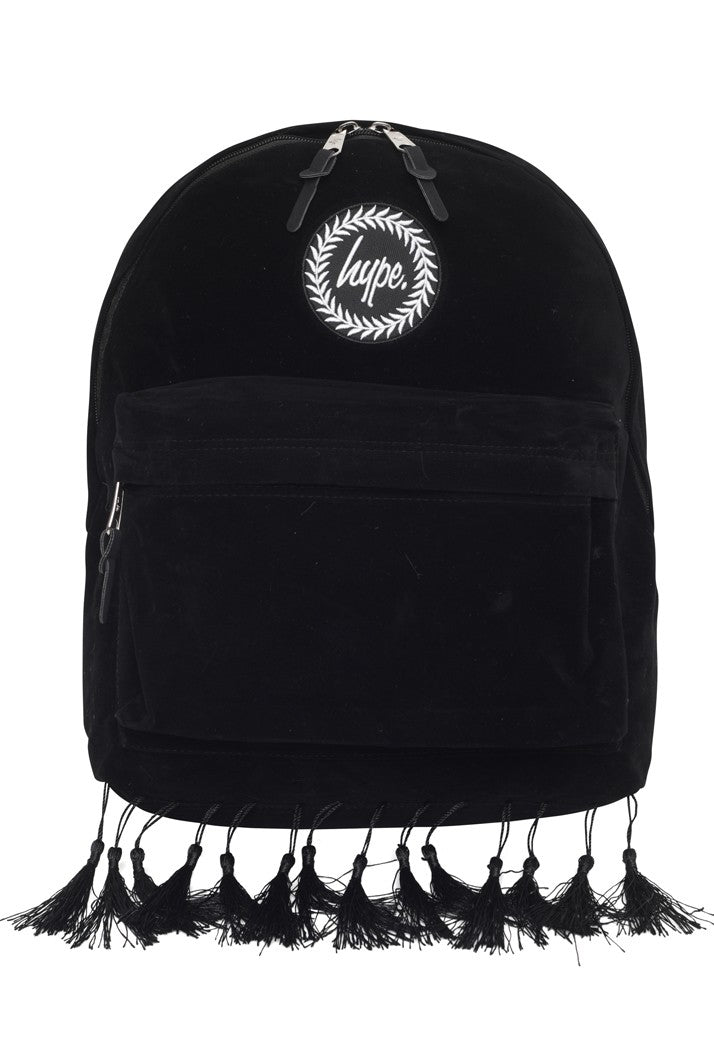 HYPE TASSEL BACKPACK RUCKSACK BAG - BLACK