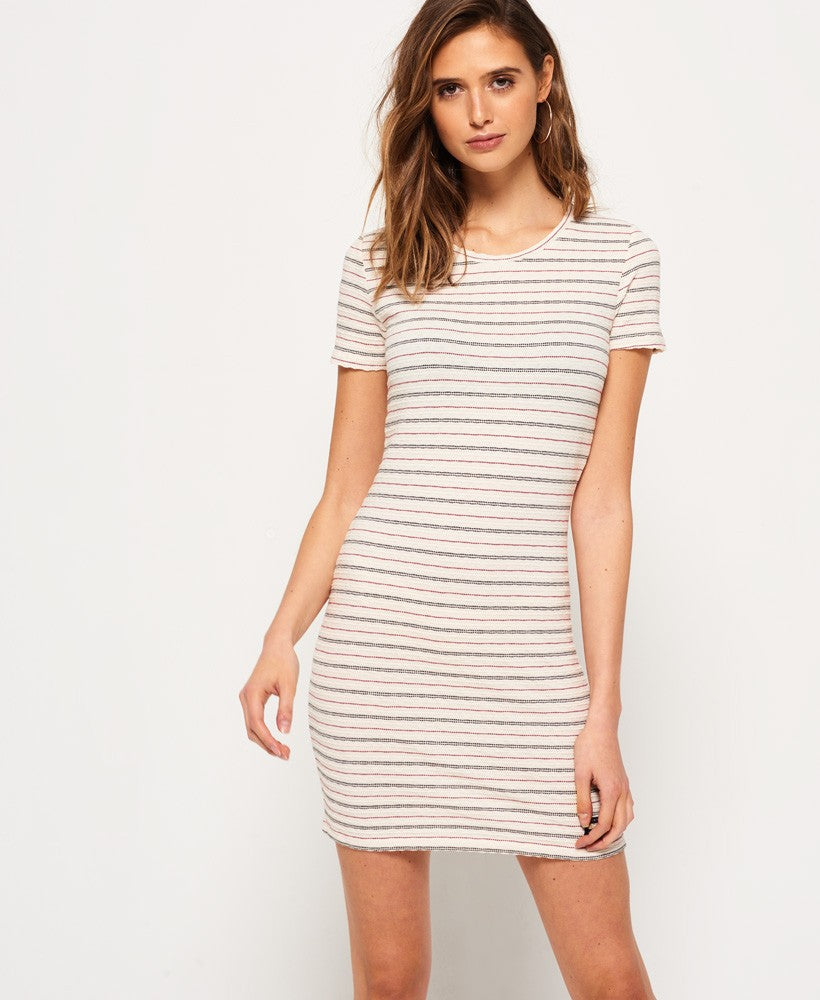 SUPERDRY TEXTURED PACIFIC TEE DRESS - CREAM