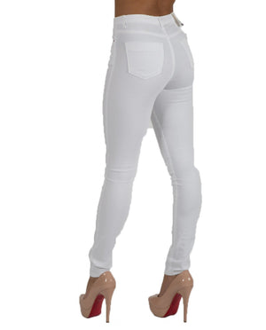 L185-9 High Waist Skinny Jeans - White