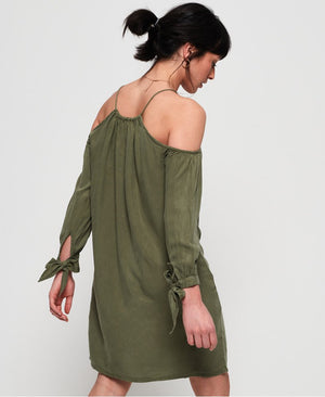 SUPERDRY EDEN COLD SHOULDER DRESS - KHAKI