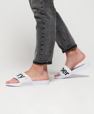 SUPERDRY POOL SLIDERS - OPTIC WHITE/DARK NAVY/HAZARD ORANGE