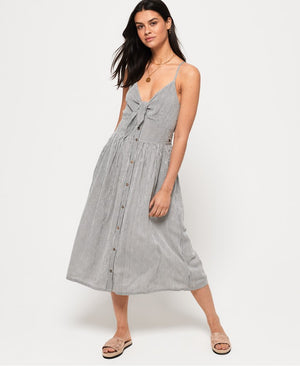 SUPERDRY JAYDE TIE FRONT MIDI DRESS - STRIPE