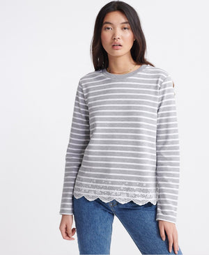 Summer Schiffli Top - Grey Marl