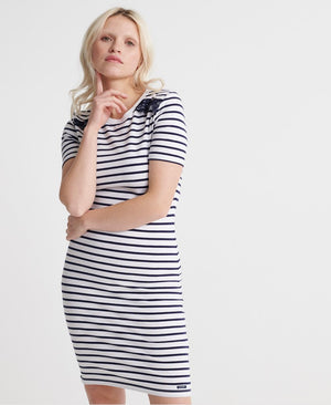 Eden Lace Mix Dress - White Stripe