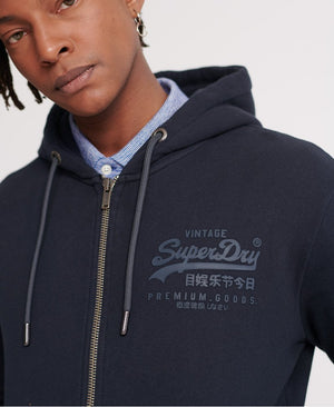 Vintage Logo Tonal Injection Zip Hoodie - Eclipse Navy