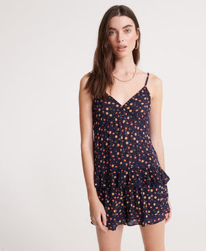 Summer Lace Cami Top - Navy Floral