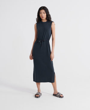 Desert Drawstring Midi Dress - Black