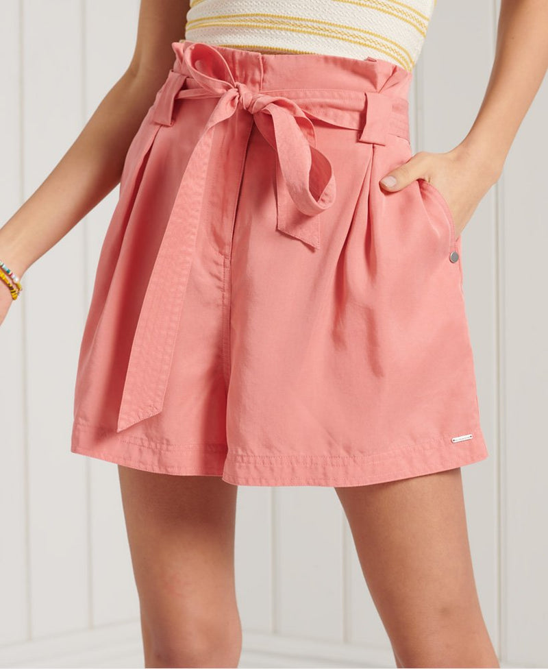 Desert Paper Bag Shorts - Pomegranate