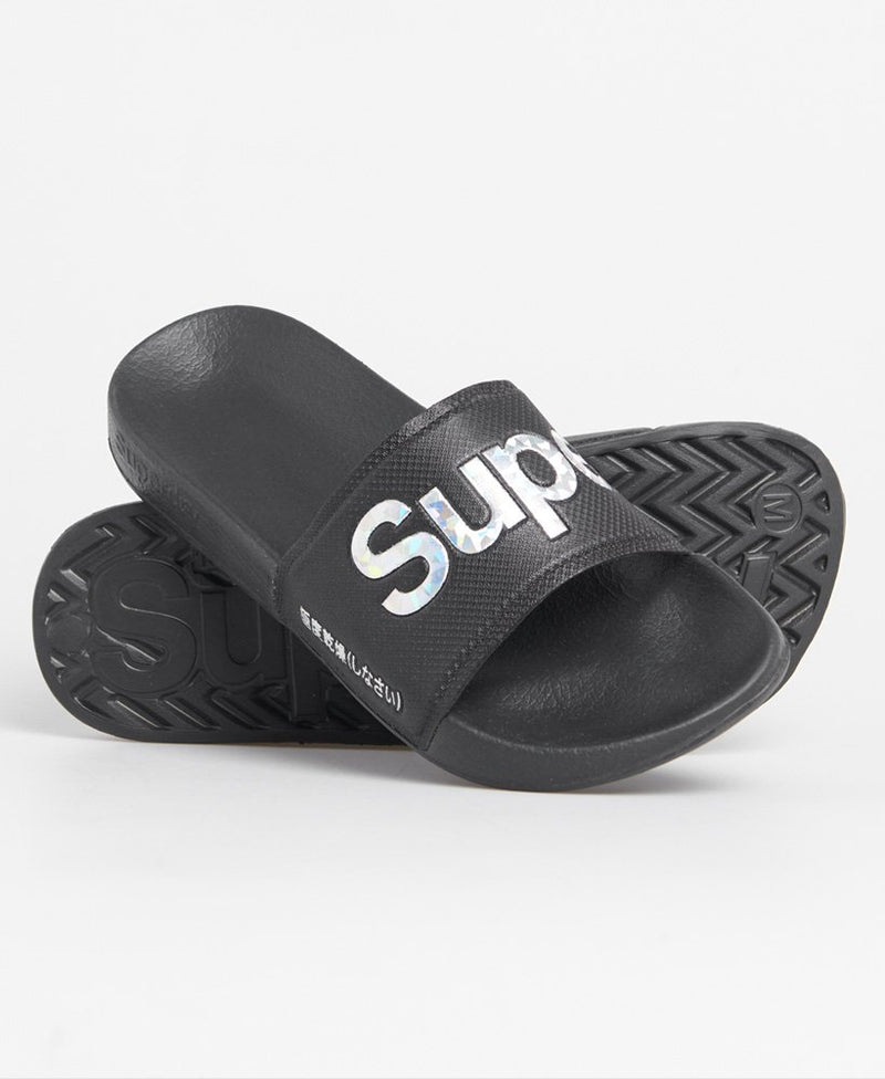 Holographic Infill Pool Sliders - Black
