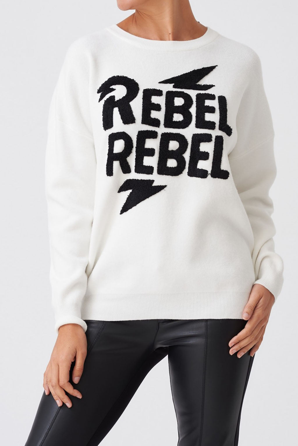 Long Sleeve Rebel Logo Knitted Jumper - White