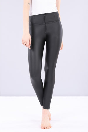 FREDDY WRUP1HC006 SHAPING EFFECT HIGH RISE FAUX LEATHER SKINNY PANT - BLACK