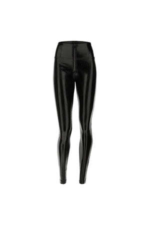 Crocodile Effect Faux Patent Leather WR.UP® Skinny Trousers - Black