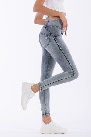 Mid-Rise Acid Wash WR.UP® Jeggings - Washed Jeans-Blue Seams