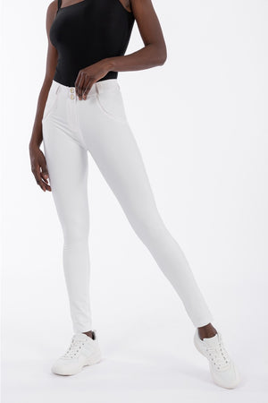 FREDDY WRUP2RC006 SHAPING EFFECT MID RISE FAUX LEATHER SKINNY PANT - WHITE